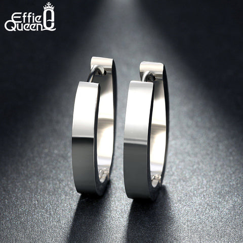 Effie Queen High Quality 316 L Stainless Steel Earrings for Women Perfect Polished Circle Stud Earrings Trendy Jewelry IE17