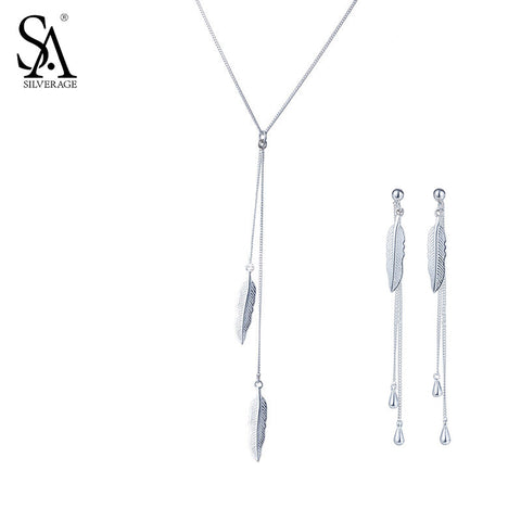 SILVERAGE Real 925 Sterling Silver Feather Jewelry Sets Pendant Necklaces Drop Dangle Earrings Vivid Fine Jewelry Women 11.11
