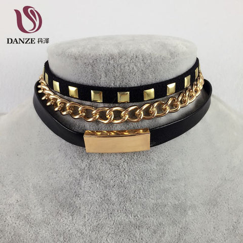 Fashion Punk Black Leather Gold Plated Rivet Collar Choker Necklaces For Women Gothic Zinc Alloy Charms Jewelry Collier Femme