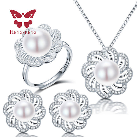 HENGSHENG New 925 Sterling Silver Jewelry Sets For Women, Fine 10-11mm Natural Freshwater Pearl Pendant Earring Rings Sets