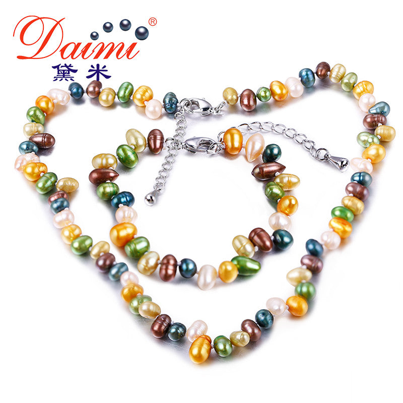 DAIMI Multi Color Freshwater Pearl 5-6mm Cultured Pearl Sets