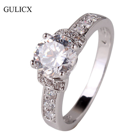 GULICX Brand New 2016 Fashion Promise Ring for Women  White Gold Plated Round Crystal CZ Zircon Engagement Ring Jewelry R158