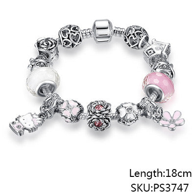 Cute Cat Hello Kitty Charms Fit Original Bracelet Bangle Murano