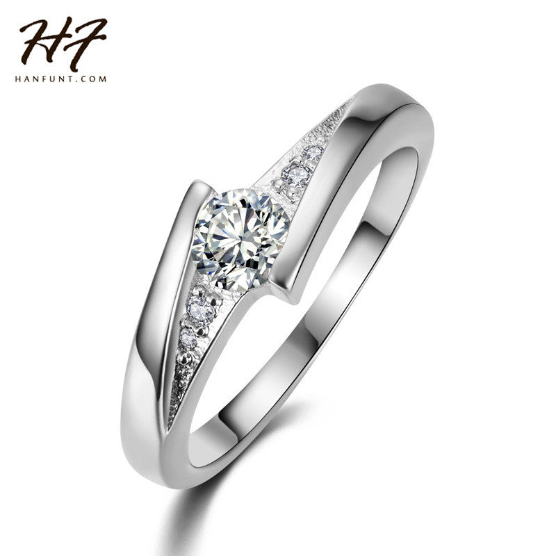 Classical White Gold Plated Created Diamond Fashion Wedding &