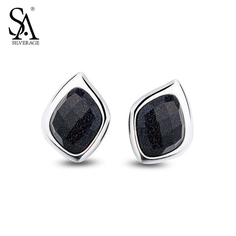 SA SILVERAGE Genuine 925 Sterling Silver Fine Jewelry Black Aventurine Stud Earrings New Top Quality