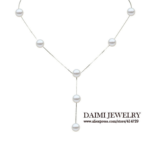 [DAIMI] Tassels Pendant Necklace 8-9mm White Nearly Round Natural