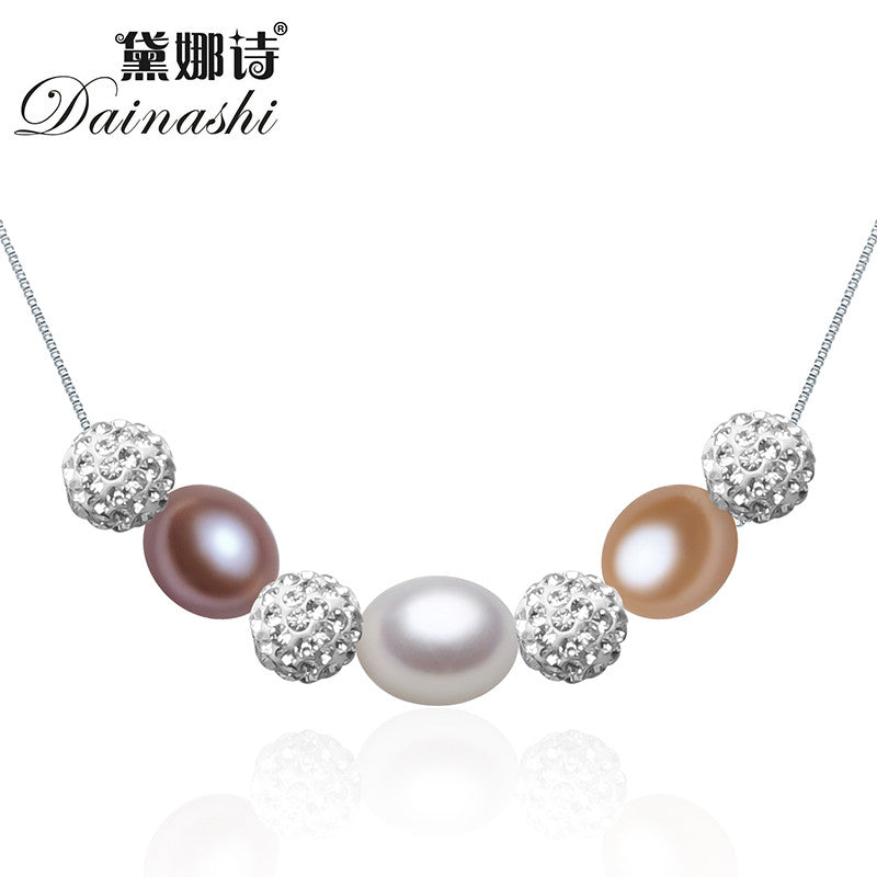 Dainashi real 925 sterling silver box chain jewelry with freshwater