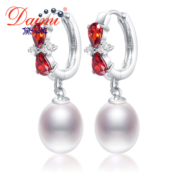 DAIMI 8-9mm Tear Drop Pearl Earrings & Shinny Crystal Freshwater Pearl