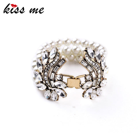 Classic Female Chic Inlay Crystal Simulated Pearl Africa Hot Sale Cuff Bracelet Factory Wholesale