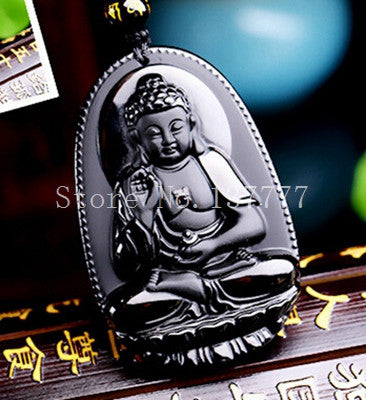 High Quality  Natural Black Obsidian Carved Buddha Lucky Amulet
