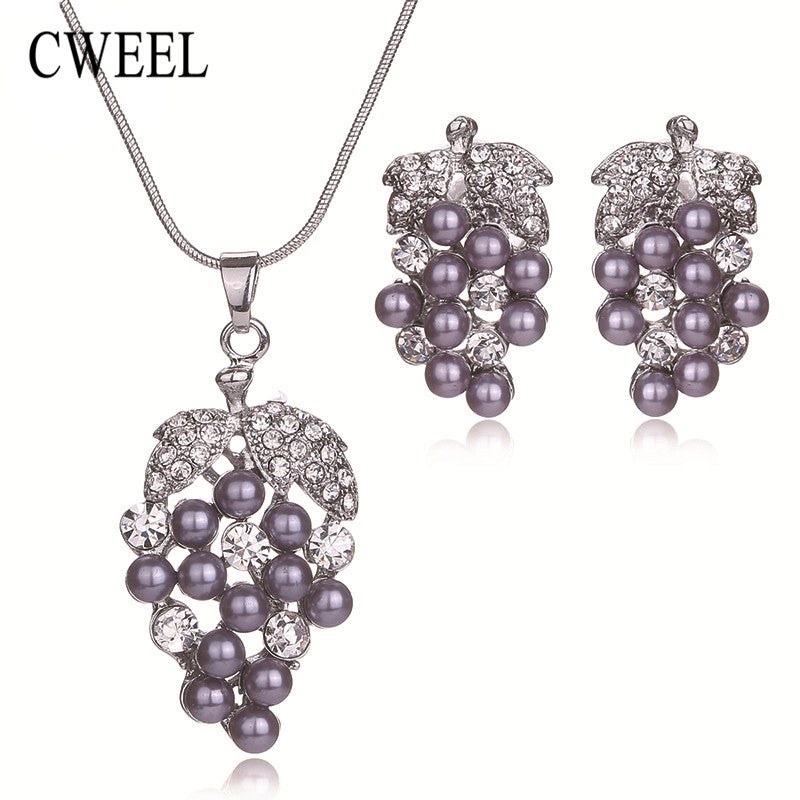 CWEEL Women Wedding Party Simulated Pearl Grape Imitated Crystal
