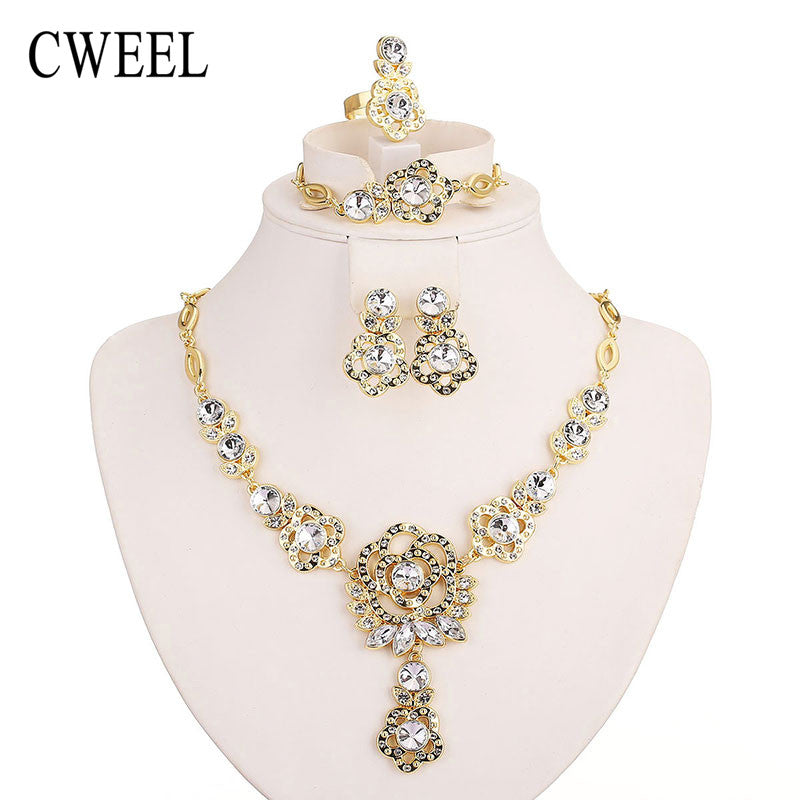 CWEEL Imitated Sapphire Jewelry Sets For Wedding Party Accessories