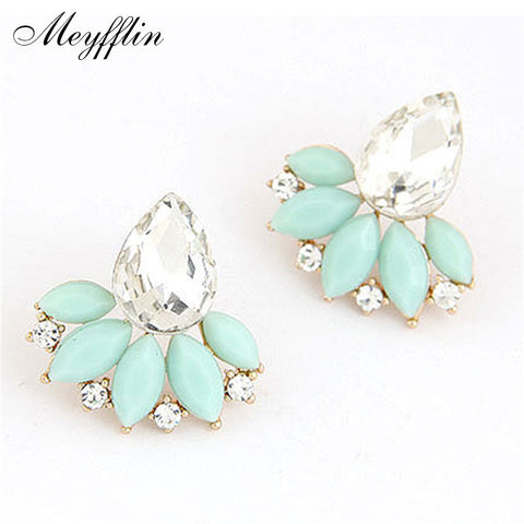 Earrings for Women 2017 Brincos Fashion Crystal Flower Stud Earrings Statement Bijoux Jewelry Boucle d'oreille Christmas Gifts
