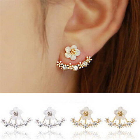 Crystal Pierced Stud Earrings for Women Boucle d'oreille Femme 2017 Fashion Flower Gold Bijoux Jewelry Brincos Christmas Gifts