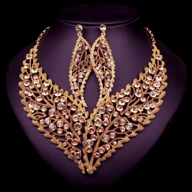 New Fashion Wedding Jewelry Sets Leaf Necklace Earrings Set Party Prom