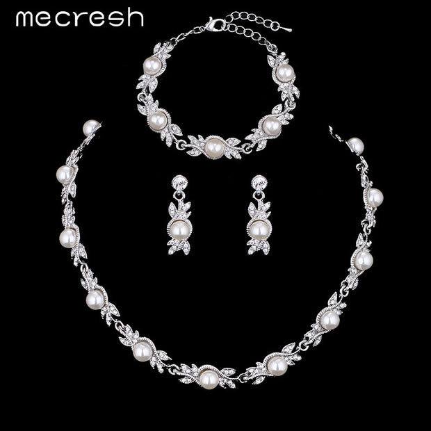 Mecresh 3 Pcs/Sets Simulated Pearl Bridal Jewelry Sets Choker Necklace