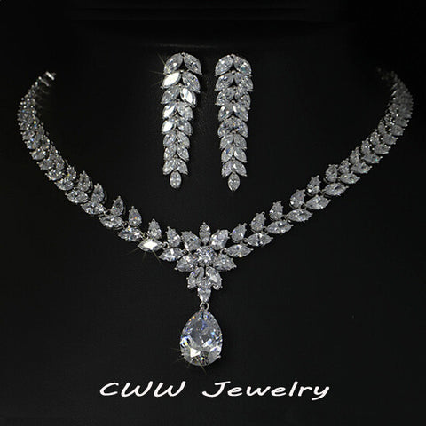 White Gold Plated Luxury Bridal Jewelry Big Teardrop CZ Diamond Necklace And Earrings Sets For Wedding Decoration  T161