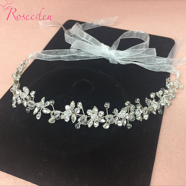 Handmade Bridal Crystal Rhinestone Hair Piece Women White