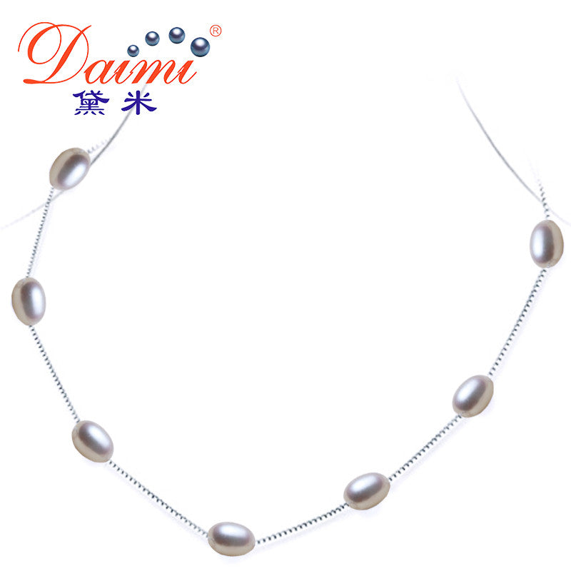 [DAIMI] Natural Pearl Necklace,Silver Chain Jewelry, Choker for Women,