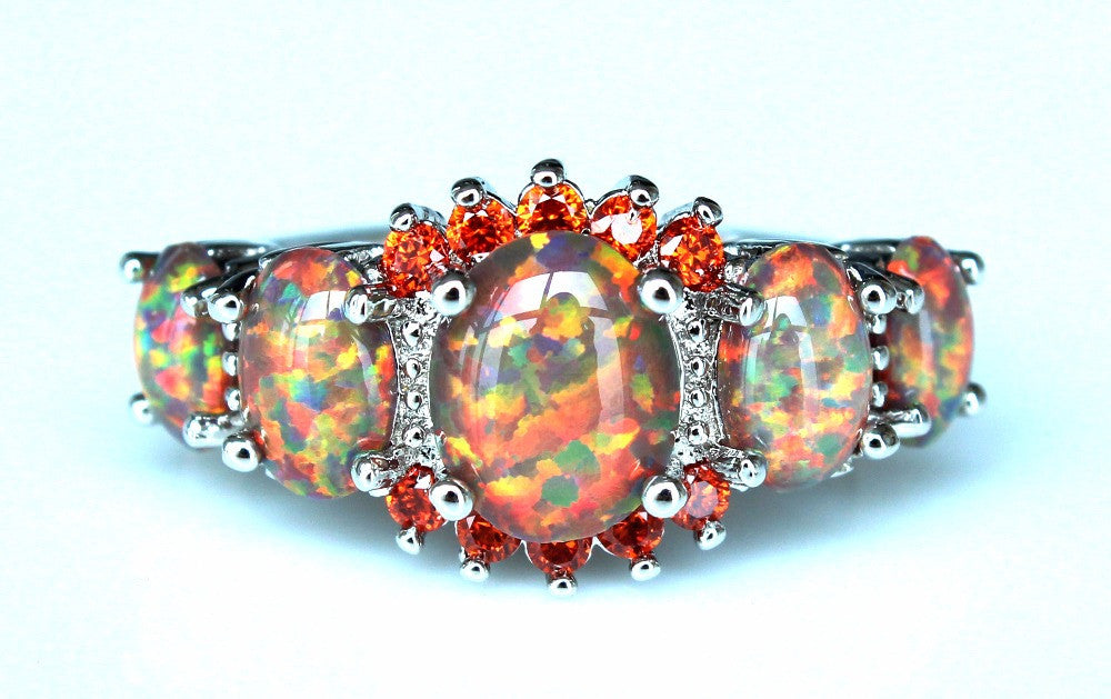 Cool Rainbow Fire Opal Rings