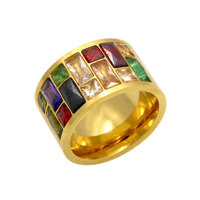Crystal Ring For Women anel 316L Stainless Steel Female Rainbow