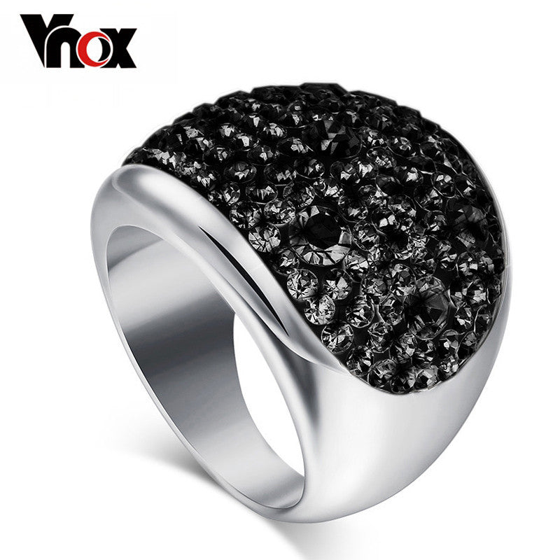 Vnox Wholesale 7 Color Big Crystal Rings for Women Austria Black