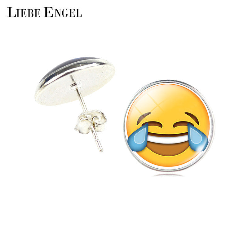 LIEBE ENGEL Vintage Silver Color Emoji Jewelry Women Accessories