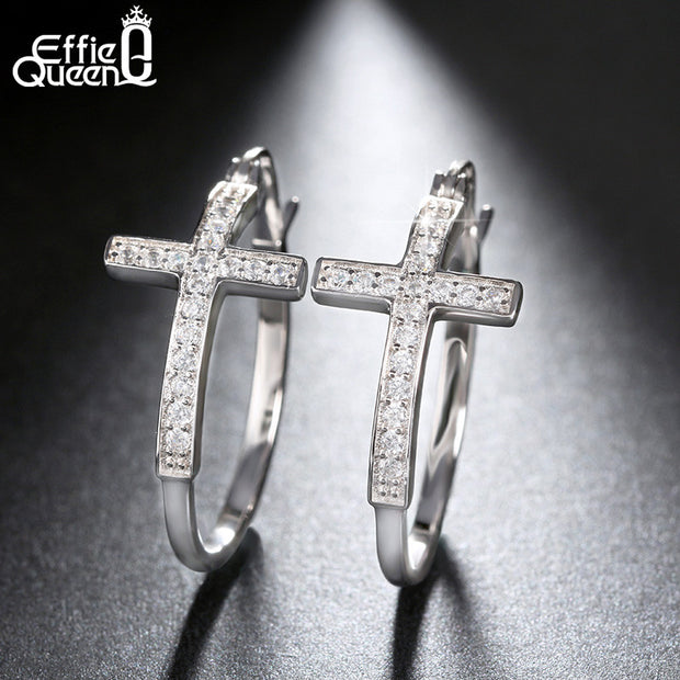 Hot Sale Big Hoop Earrings with CZ Diamonds Classic Cross Style Design