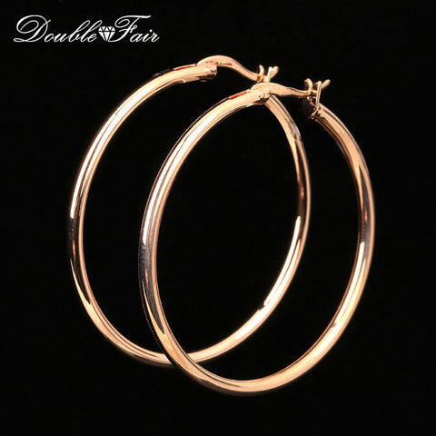 Double Fair Brand Large/Small Round Hoop Earrings Rose Gold Plated Fashion Vintage Jewelry For Women Wholesale DFE780