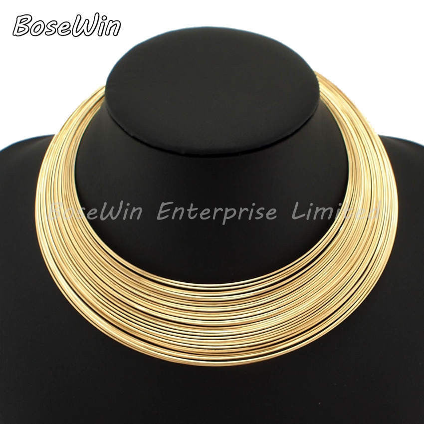 MANILAI Fashion Multilayer Metal Wire Neck Fit Torques Statement