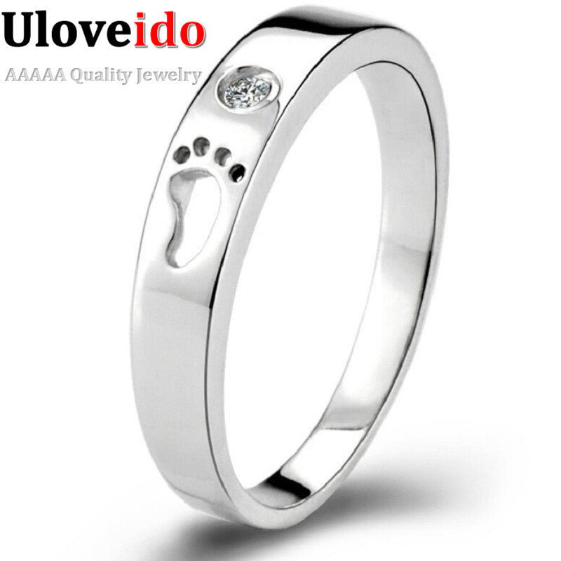Little Feet Plated Silver Rings for Women and Men's Rings Aneis