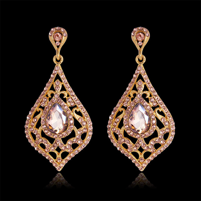 Fashion Jewelry Vintage Drop Earrings Gold African Rhinestone Glass