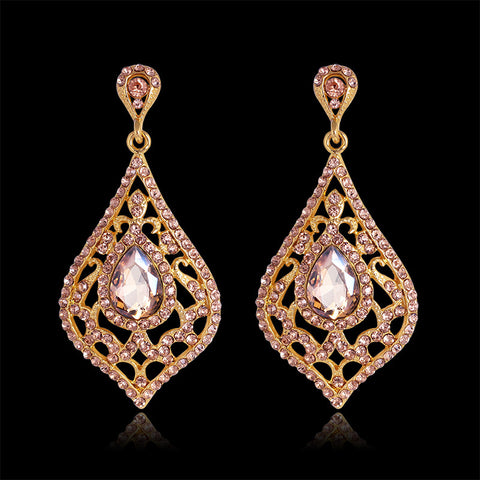 Fashion Jewelry Vintage Drop Earrings Gold African Rhinestone Glass Statement Long Big Earrings For Women Christmas Party