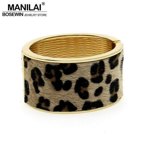 MANILAI Fashion Leopard Horsehair Spring Opened Oval Wide Cuff  Bangles Bracelet Women Statement Jewelry Nickle free BL197