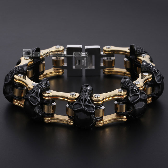 Davieslee HEAVY Boys Mens Chain Skull Black Gold Silver Tone Biker