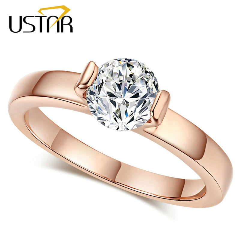 Classic CZ Diamond Jewelry Wedding rings for women Rose Gold plated