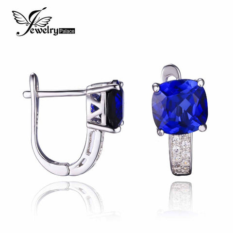JewelryPalace Cushion 4.6ct Created Blue Sapphire Clip Earrings 925