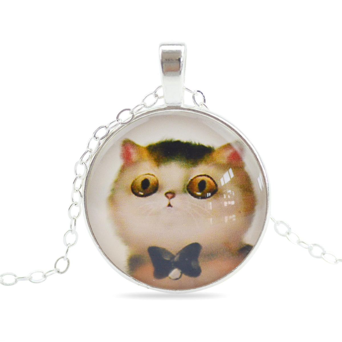 LIEBE ENGEL Cute Cat Silver Color Jewelry Classic Glass Cabochon
