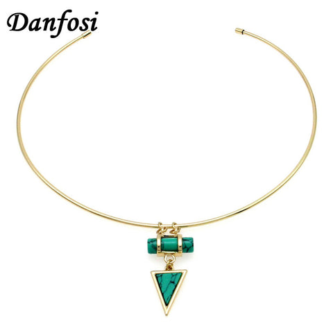Danfosi Fashion Simple Choker Necklace Women Accessories 2016 Collar Torques Stone Geometric Necklaces & Pendant Jewelry bijoux