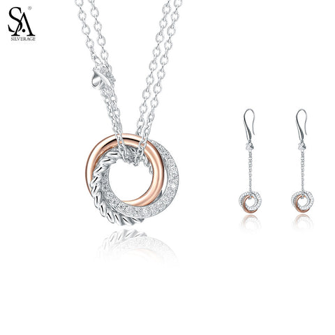 SA SILVERAGE 925 Sterling Silver Jewelry Sets Drop Dangle Earrings Necklaces & Pendant Fine Jewelry Women Rose Gold Love Knot