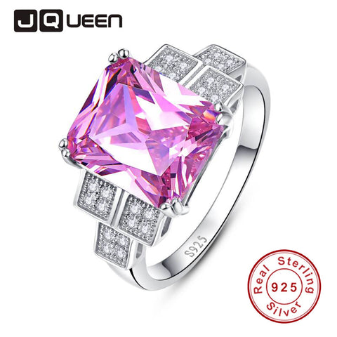 JQUEEN Luxury Wedding Band 925 Silver Jewelry Cubic Zirconia Pink Topaz Wedding and Engagement Rings S 6-9 nuevos anillos 2016