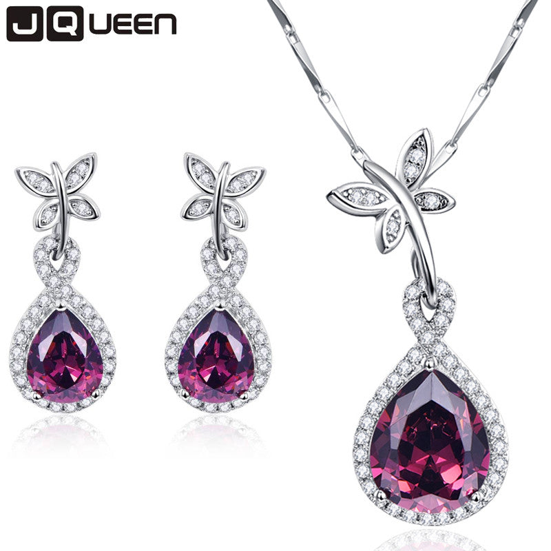 Classic Design Jewelry Sets Water Drop Natural Garnet Earrings