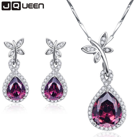 Classic Design Jewelry Sets Water Drop Natural Garnet Earrings Necklaces Set Engagement Party Sterling Silver Jewelry 925 sets