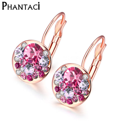 Female Luxury Round Clip Earrings Crystal Rose Gold Geometric