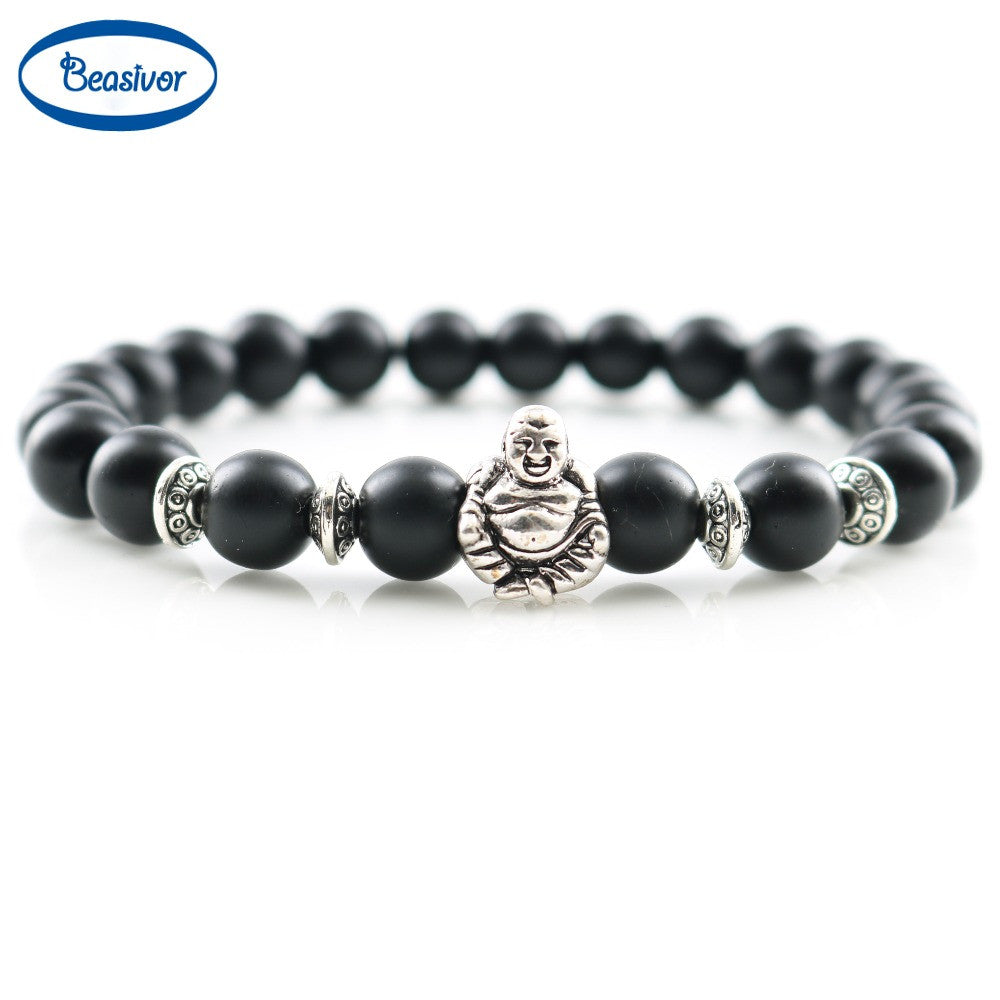 Jewelry Men Bracelets Silver Laughing Buddha Lucky Charm Bracelets &