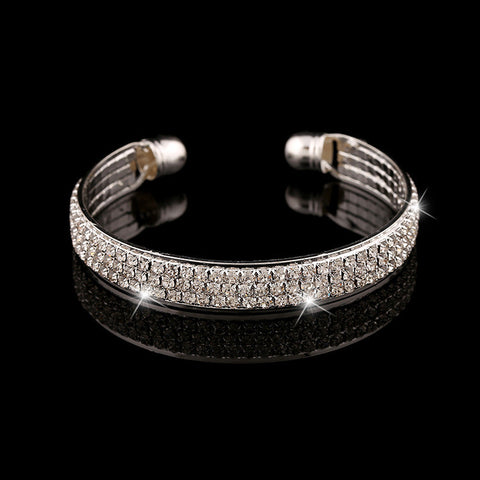 Hot Free Shipping Fashion Women Female Jewelry 3 Row CZ Diamond Crystal Silver Bangles Cuff Bracelets High Quality Pulseiras