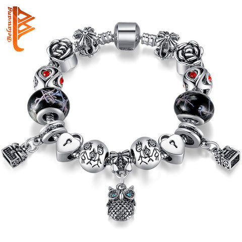 Drop Ship Owl Charm Animal Beads Fit Original Charm Bracelet Tibetan Silver Plated Murano Glass For Women Fashion Jewelry Gift