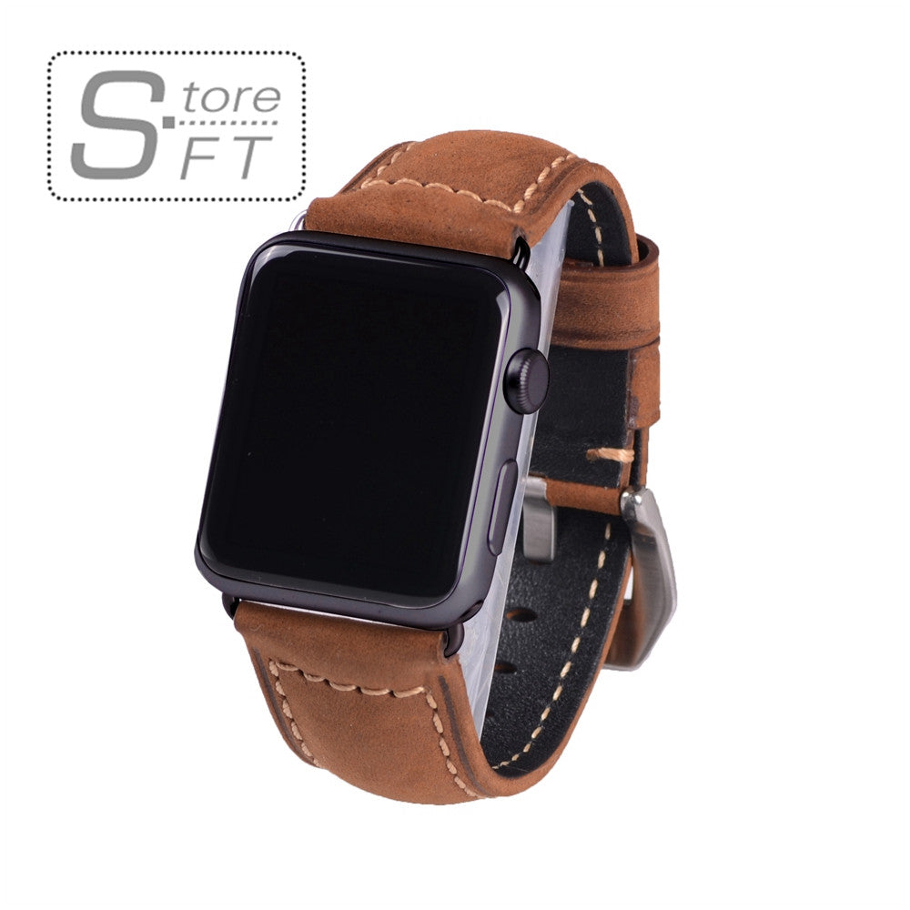 Classical Genuine Crazy Horse Brown Leather Watch Band for Apple Watch