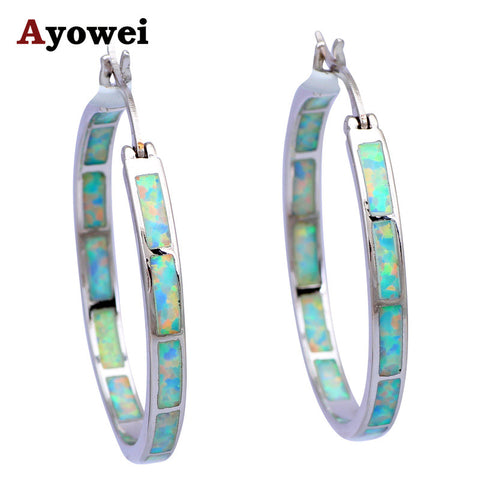 High Quality Big Hoop Earrings for Women White Fire Opal Silver Stamped Wholesale Fashion Jewelry Opal Jewelry OES536A