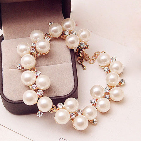 Charm Bracelets Gold Plated Simulated Pearl Crystal Beads Bangle Wedding Jewelry Accessories Gift